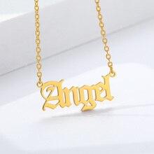 Colar pingente anjo aço inoxidável, dourado, prata, para mulheres, princesa, colar, jóias boho