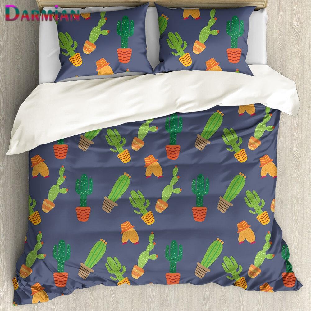 DARMIAN Fashion Cartoon Cactus Pattern Bedding Set Bedroom Home Supplies 3Pcs/Set Pillowcase & Duvet Cover Set Housse De Couette