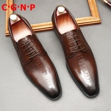 C·G·N·P Imported Cow Leather Business Formal Shoes Men British Style Lace-up Derby Dress Shoes Fa