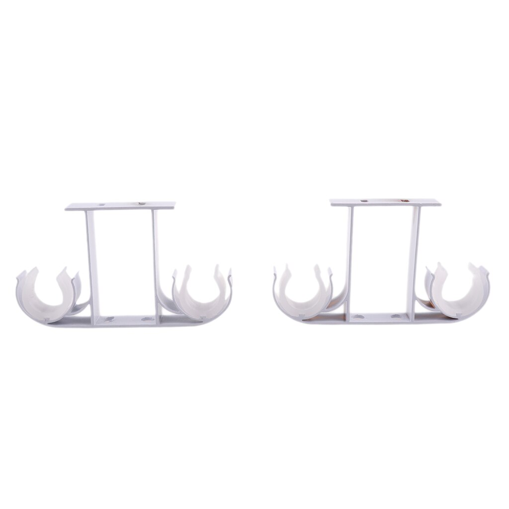 2x liga de alumínio suporte de suporte de haste dupla cortina suporte pólo suportes de parede