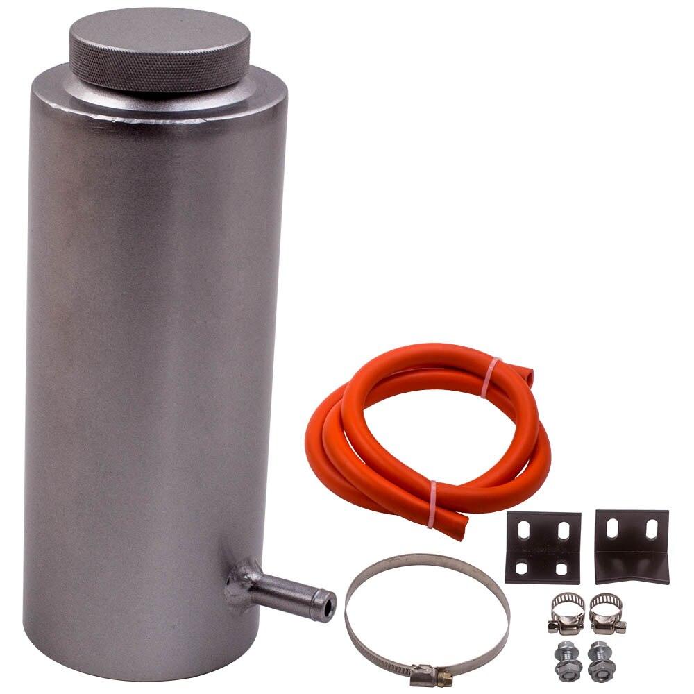 Plata 800ml 8L Universal radiador refrigerante de aluminio tanque de retención de desbordamiento de depósito de coche de estilo
