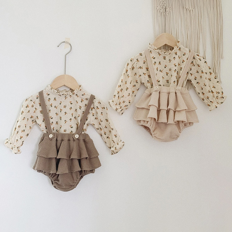 AliExpress - 2Pcs Vintage Baby Girl Clothes Set Summer Cotton Girls Floral Blouse Shirt Romper Dress Spring Newborn Baby Girl Clothes Outfits