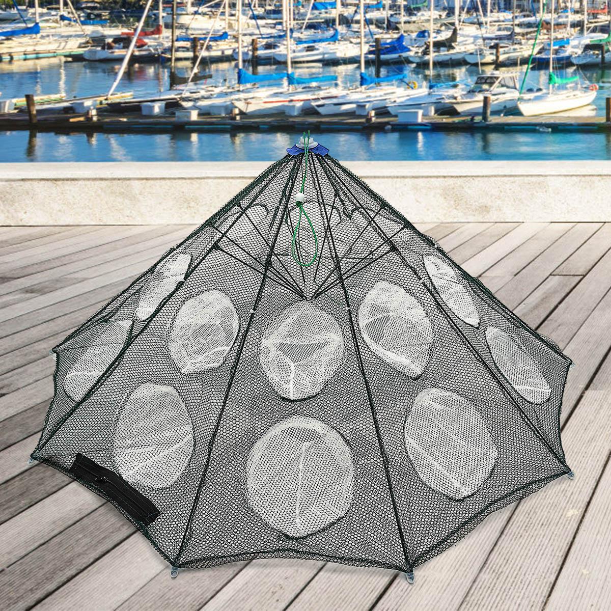 Усиленная 6-20 отверстий Автоматическая рыболовная сетка клетка для креветок нейлоновая клетка для ловли крабов Рыбная Накидная рыболовная сеть литая Складная рыболовная сеть