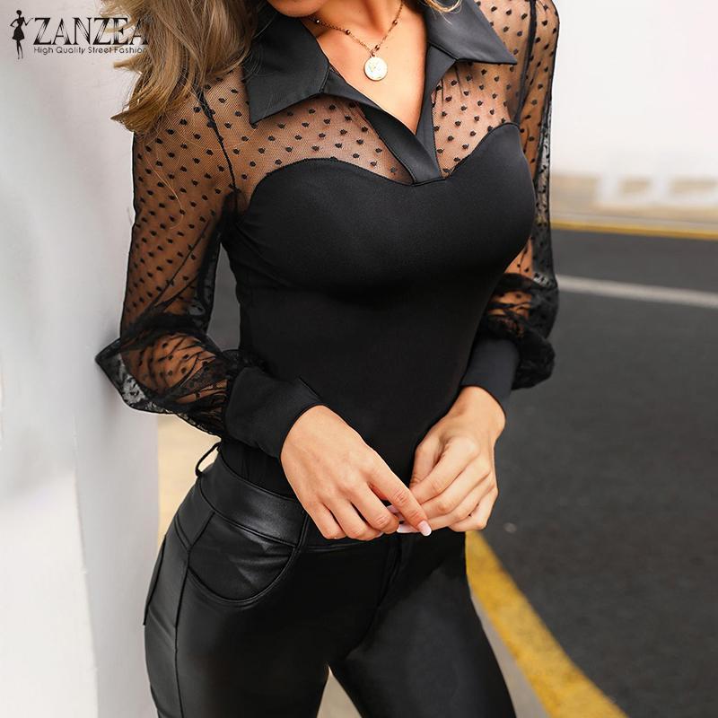 ZANZEA Casual de manga larga Sexy transparente Tops mujeres de encaje Patchwork blusa 2020 verano Blusas Mujer solapa túnica de talla grande