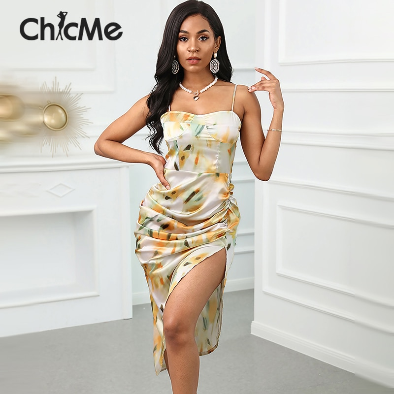 Chicme Sexy Women Summer Spaghetti Strap Abstract Print Robe Fashion High Slit Ruched Square Neck Skinny Dress attractive spaghetti strap embroidery high slit maxi dress for women