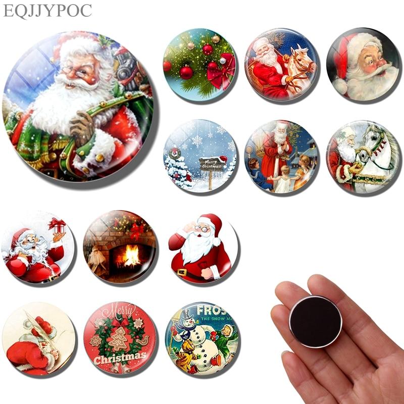 Магнит на холодильник с Санта-Клаусом, Рождественское украшение, магниты на холодильник 30 мм, рождественский подарок, холодильник милые наклейки из мультфильмов, домашний декор