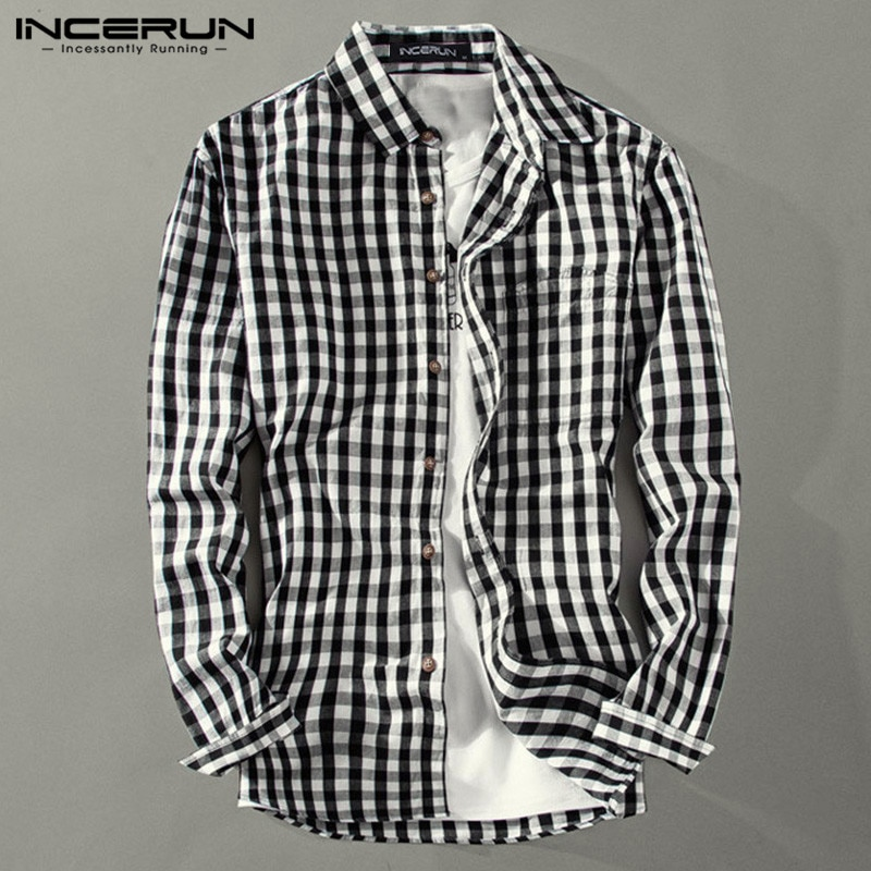 Camisa informal con solapa de Camisa a cuadros para hombre de INCERUN, Camisa de manga larga elegante con botones 2020, camisas básicas de marca a la moda para hombre de talla grande 5XL