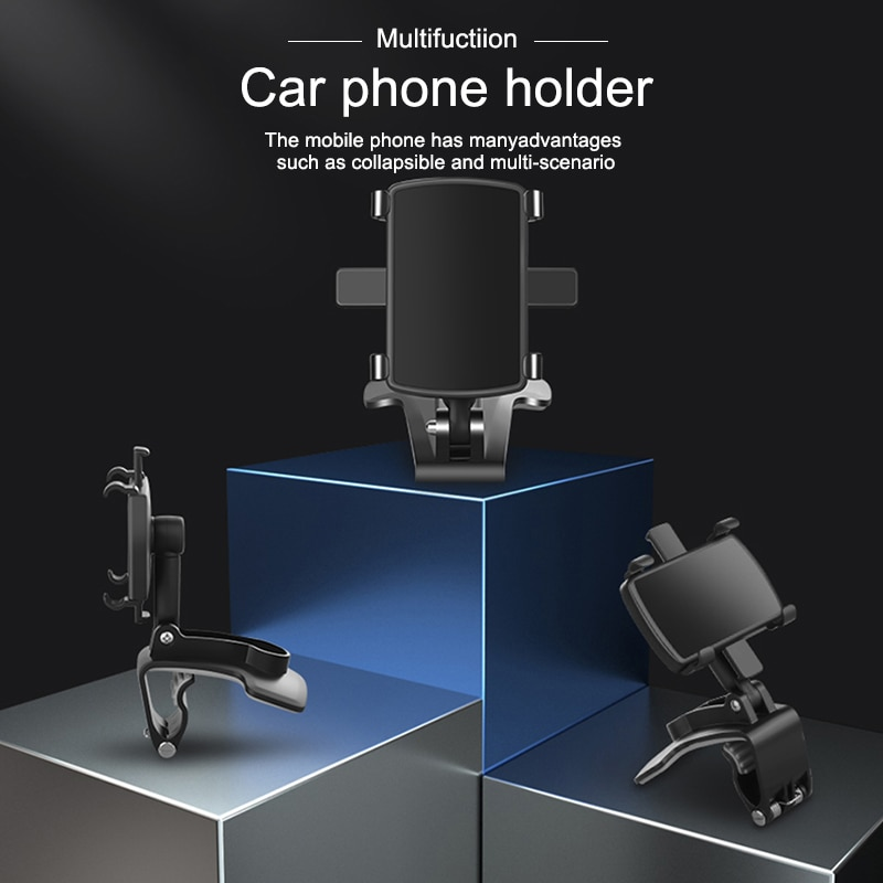 Car Mobile Phone Holder 360 Degree Stand In Dashboard Rear View Mirror Sunshade Baffle Phone Holder GPS Mount enlarge