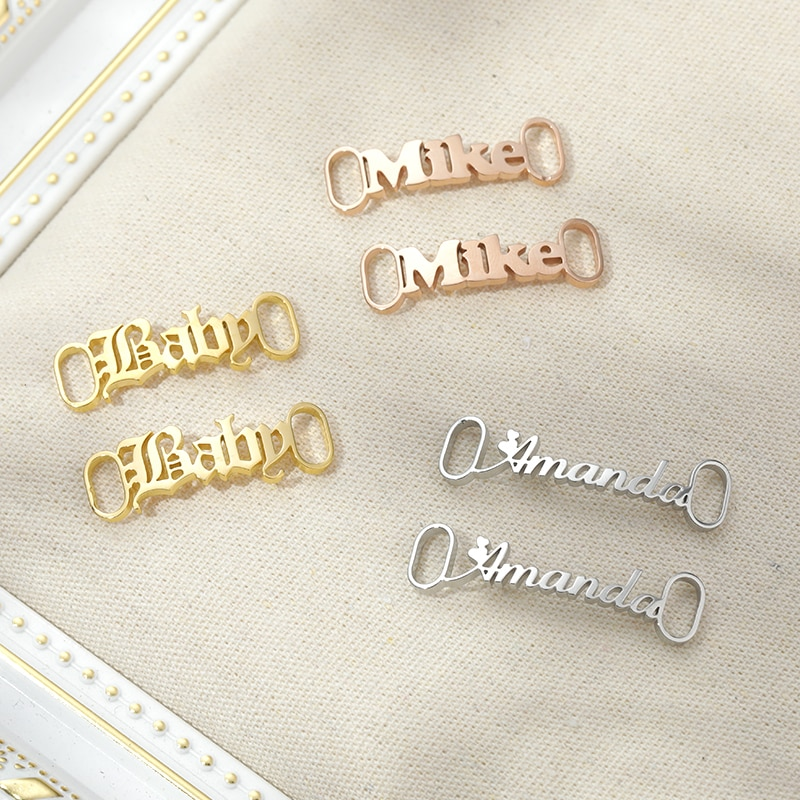 Custom Name Shoe Buckle Custom Sneakers Tag For Women Men Gold Stainless Steel Personalized Customiz