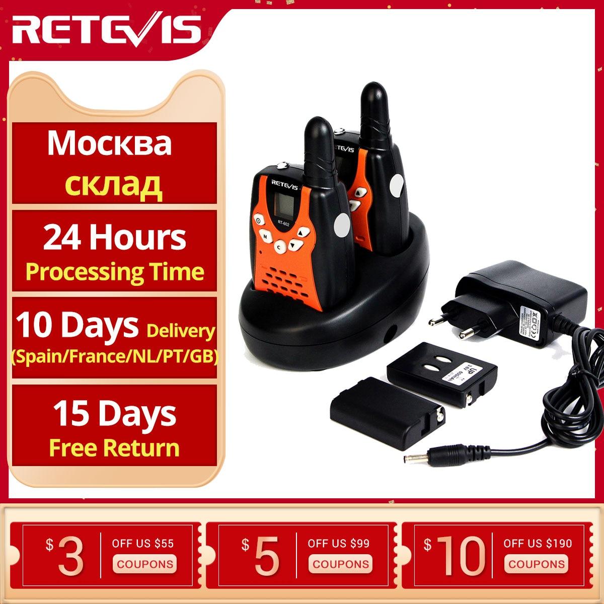 Retevis RT602 Walkie Talkie Children Rechargeable 2pcs 0.5W Children's radio With Battery Best Kid Toy Gift Talkie Walkie
