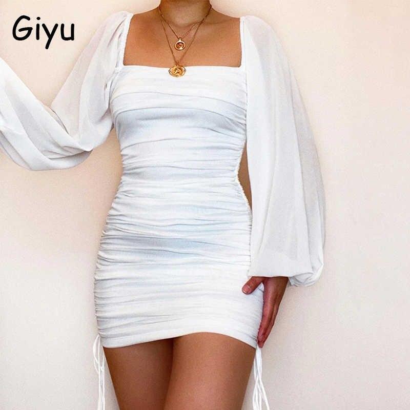 Giyu سانتين Drawsting امرأة اللباس مثير Bodycon Ruched أنيقة البسيطة فساتين نادي حزب ساحة الرقبة فانوس كم الأبيض Vestidos