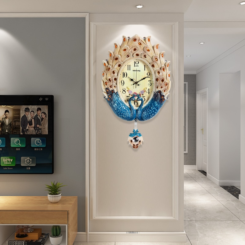 Reloj de pared Penludum decorativo grande de resina silenciosa de pavo real de lujo diseño moderno para sala de estar decoración del hogar Reloj de pared adhesivo