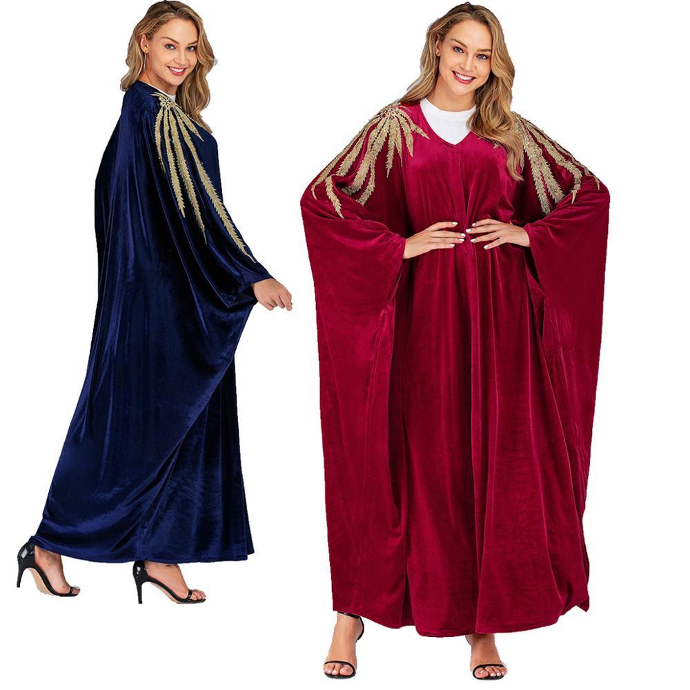 Abayas para Mulher Muçulmano Batwing Manga Moda Vestido Caftan Abaya Dubai Kaftan Hijab Turco Islam Vestuário