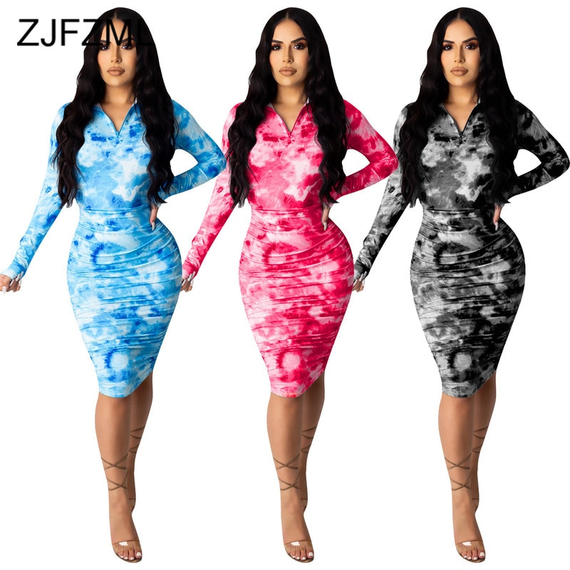 Azul branco tie-dye print sexy lápis vestidos feminino profundo decote em v manga completa vestido fino vintage zíper até vestido de cintura alta sem máscara