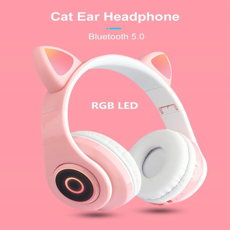 Oreillettes Bluetooth sans fil pour chat, casque de jeu universel stéréo HD, musique multicolore avec lumière LED, pliable, nouvelle collection