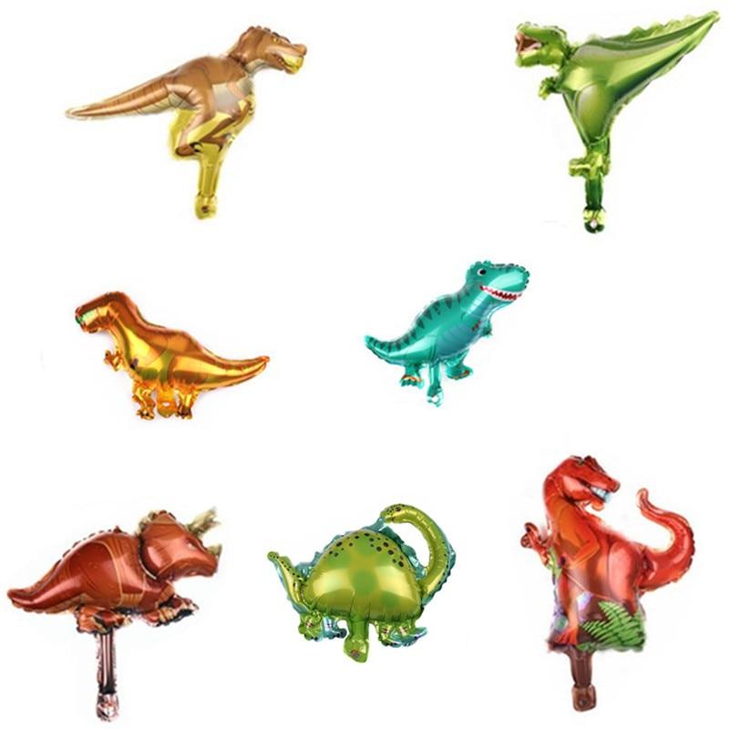 10 Uds Mini globos de aluminio de dinosaurio niños niño dinosaurio globo de aire Jurásico palabra Fiesta Temática decoraciones para fiesta de cumpleaños niños