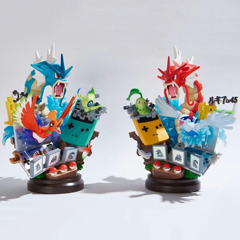 Anime Gameboy Gyarados ho-oh Celebi Chikorita Lugia figura de acción juguetes figura de ensueño estatua de resina regalos de colección