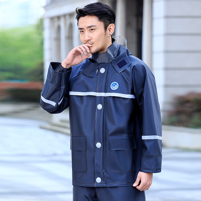 Thick Waterproof Raincoat Pants Polyester Set Overall Men Motorcycle Raincoat Hiking Outdoor Poncho Hombre Rain Tools DM50R enlarge