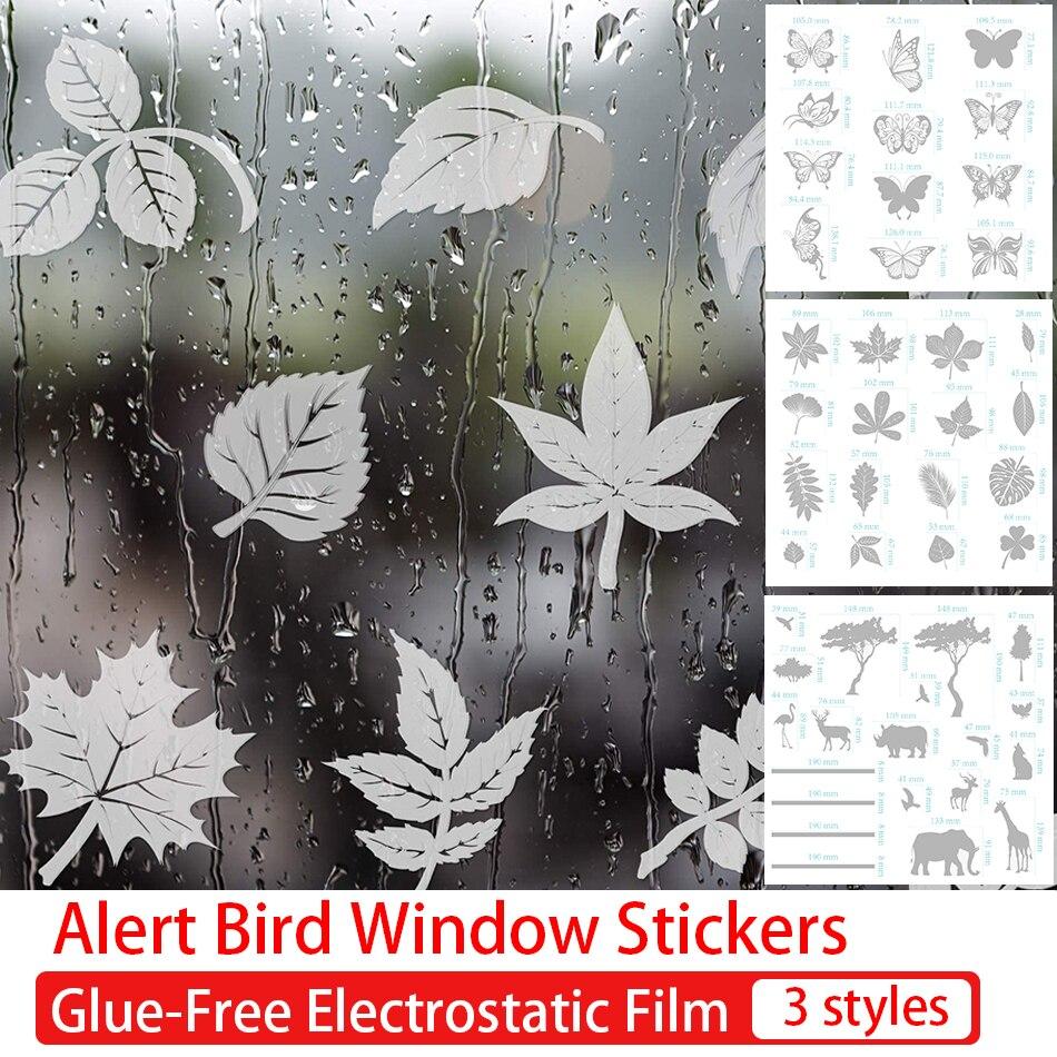 Предупредительные наклейки на окна с птицами, листья, бабочки, наклейки на окна с защитой от столкновений, без клея, Электростатическая плен...
