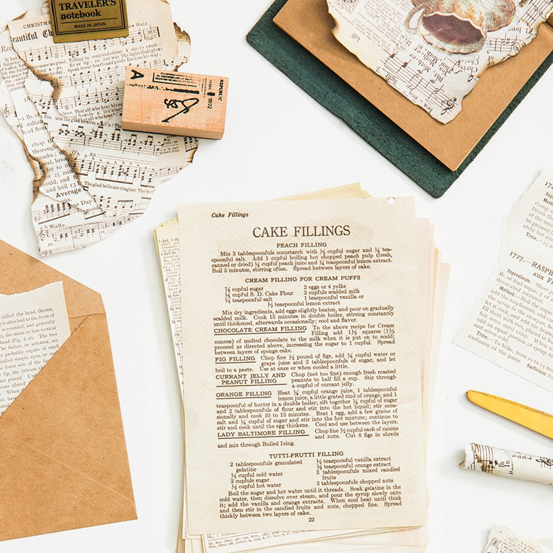 DIY Kraft Retro Writing Paper Cards Old Book Seriess Scrapbooking/Card Making/Journaling Project Pieces