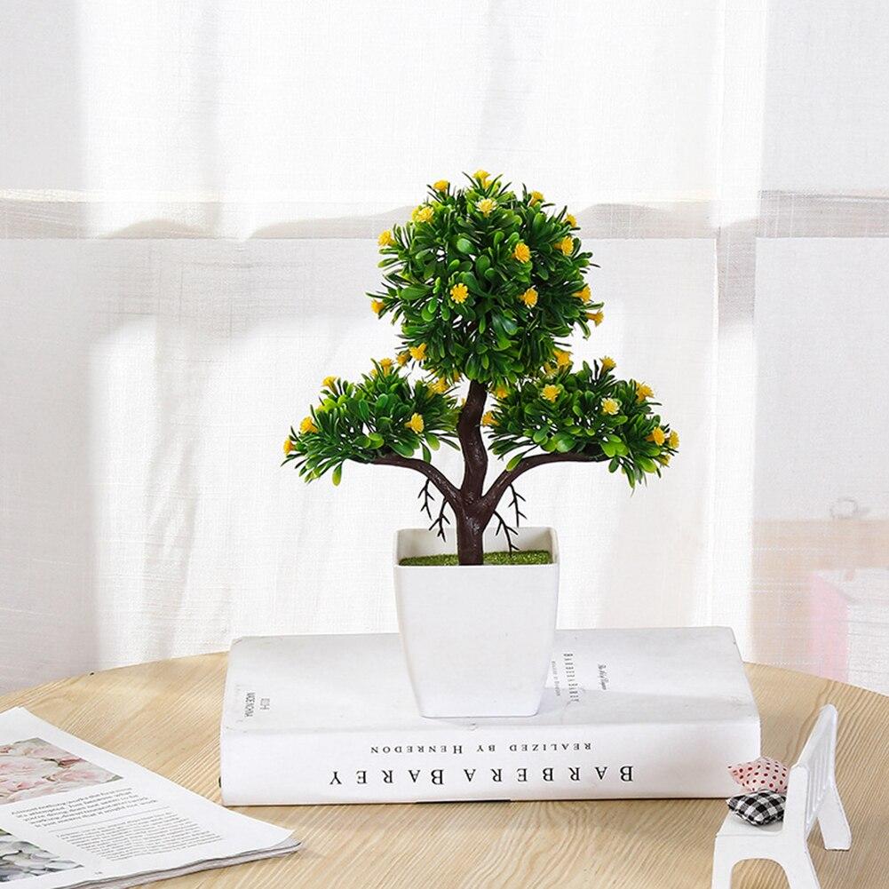 Falso flor potted trigeminal arroz cedro simulação planta bonsai decoração flores artificiais