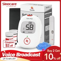 test for blood Sinocare Safe AQ Voice Blood Glucose Meter Glucometer with 50/100 Test Strips Lancets with Voice for Diabetes