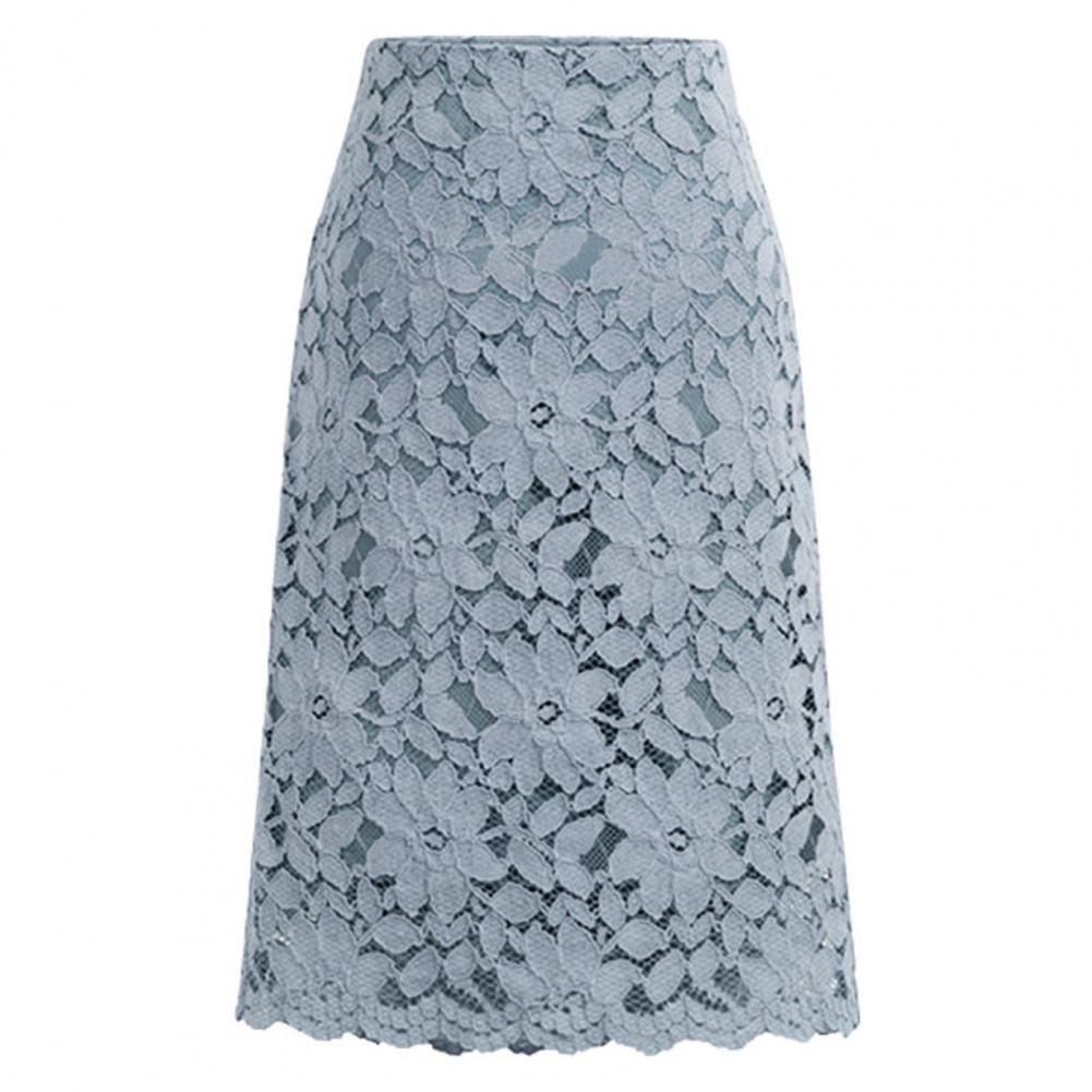 Фото - Летняя Офисная Женская юбка, облегающая юбка, кружевная женская элегантная трапециевидная Юбка До Колена с высокой талией missoni юбка до колена