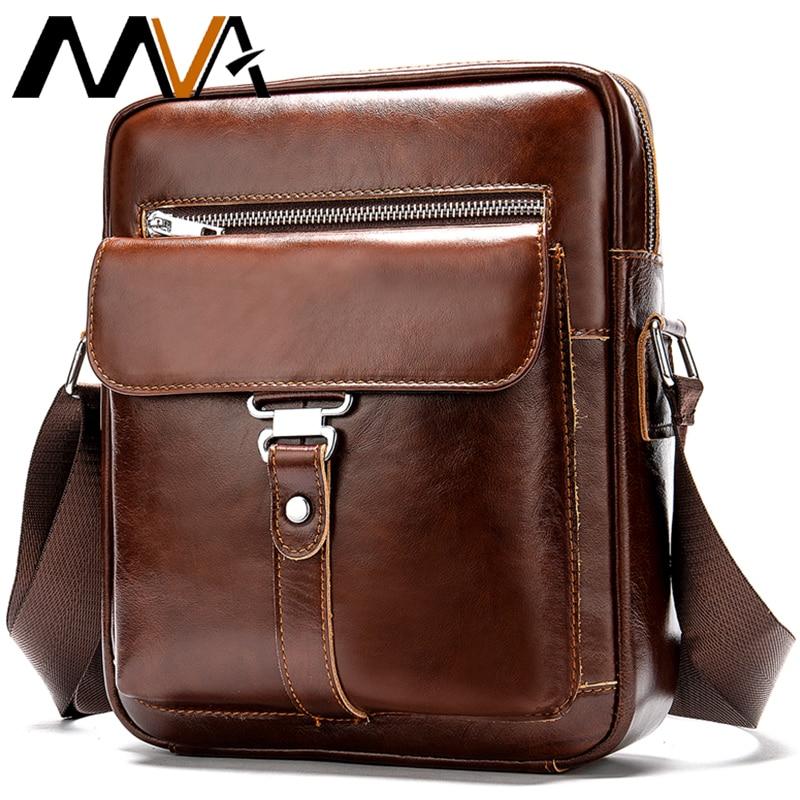 MVA Brand Mens Crossbody Shoulder Bags High Quality Genuine Leather Men Handbags Large Capacity Casual Men Messenger Bags Tote