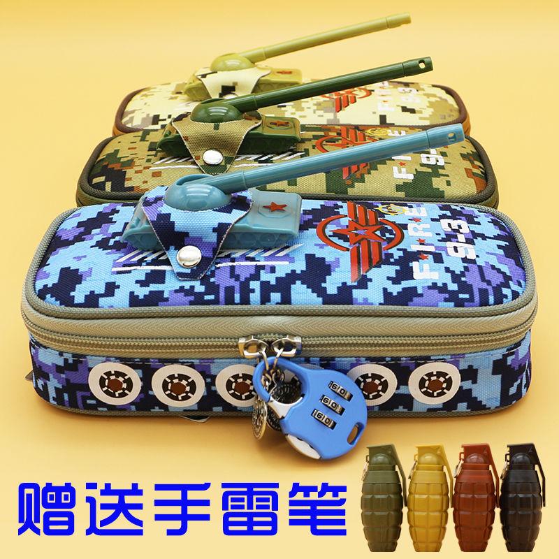 Pencil Case Vehicle Pen Pouch Bag with Combination Lock for Boys Double Zipper Camouflage Canvas Lar