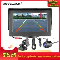 develuck 4 3 inch car monitor reverse rear backup cameras hd display for car rearview monitors and removable suction cup holder