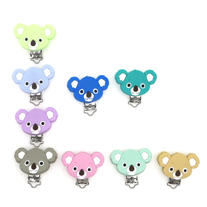 Kovict 3pc Koala Silicone Pacifier Clip DIY Baby Teething Teether Necklace Bead Tool Nurs Gift Round Heart Accessories