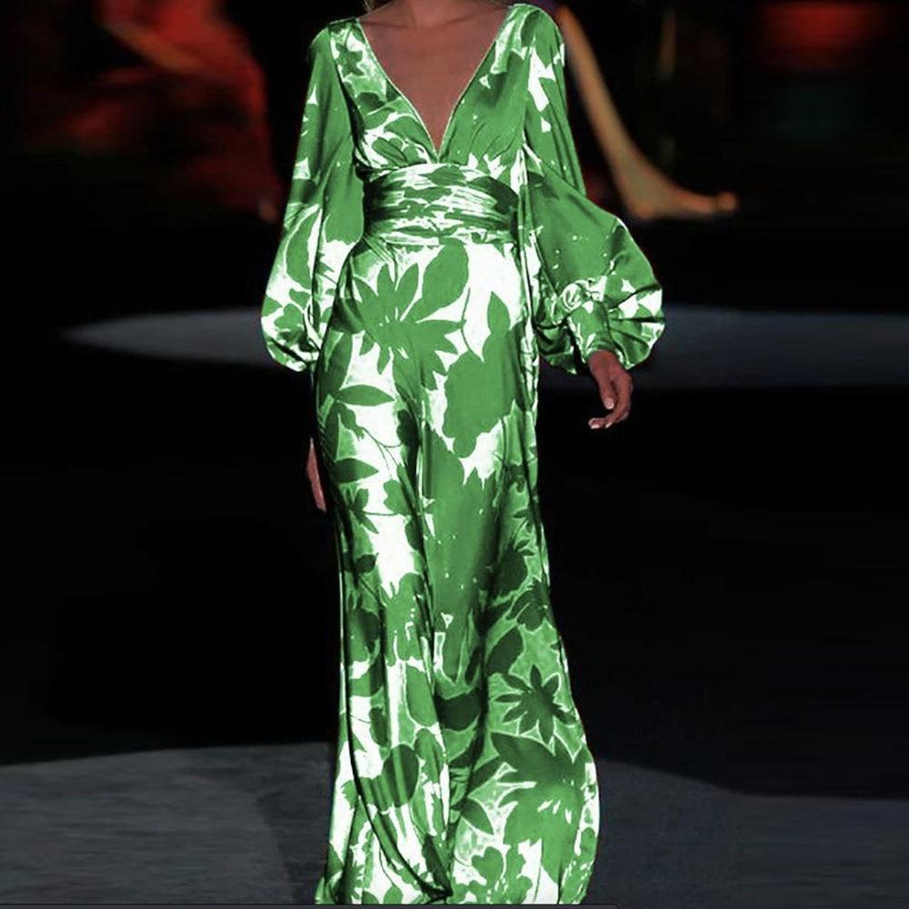 tiefem v-ausschnitt floral druck party kleid frauen vintage laterne hülse  kleid 2020 sommer lange vestidos casual robe plus größe sommerkleid