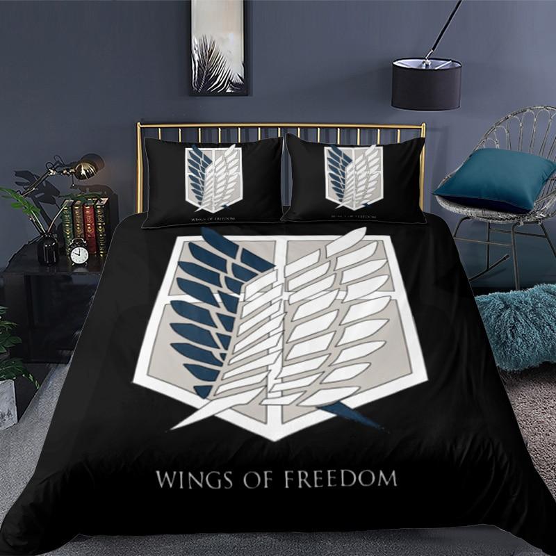 طقم سرير المعزي المطبوع ثلاثية الأبعاد أنيمي هجوم على تيتان طقم أغطية لحاف مع سادات أغطية سرير مخصصة أغطية سرير الجناح