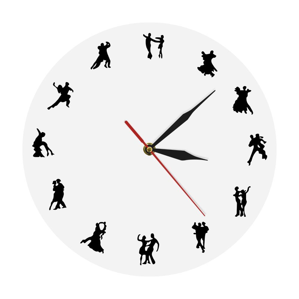 1Piece Couples Dance Wall Clock Waltz Iconic Clock Modern Tango Wall Clock Ballroom Dancing Wall Art For Dancer Gift