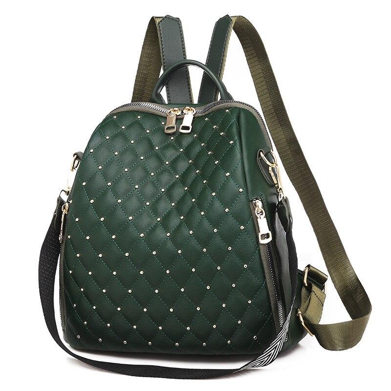 Moda couro do plutônio mochila feminina sacos mochilas smalll xadrez diamante rebite moda mochila feminina