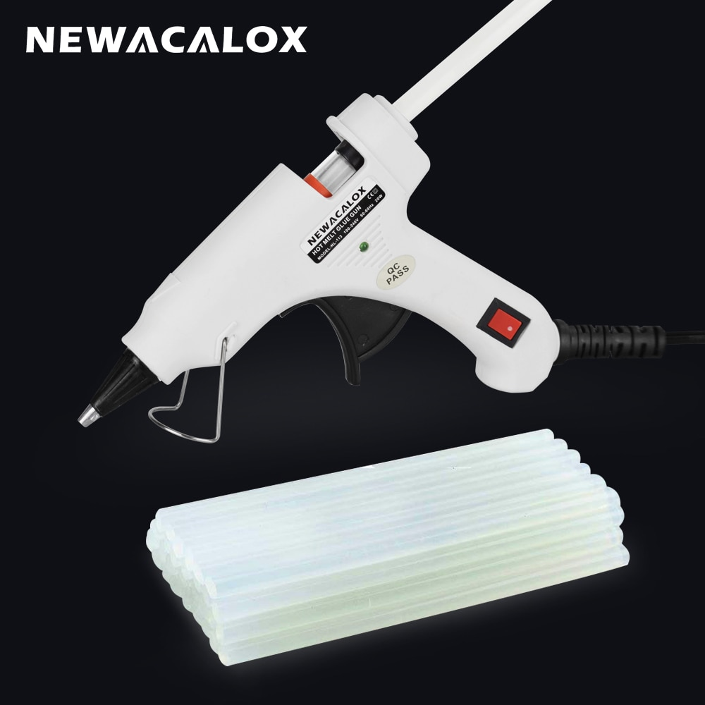 NEWACALOX 20W 110V-240V Hot Melt Glue Gun with 20pcs 7mm Glue Stick Industrial Mini Guns Thermo Gluegun Heat Temperature Tool