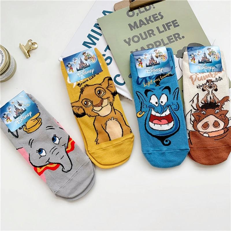 Calcetines cortos con estampado de dibujos animados de Disney para mujer, calcetín...