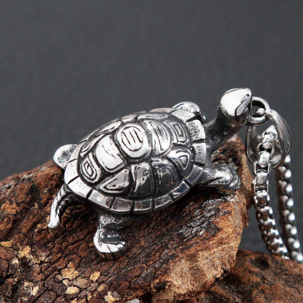 Punk Hip Hop Tortoise Necklace Pendant Men Women Fashion Biker Stainless Steel Animal Pendant Neckla