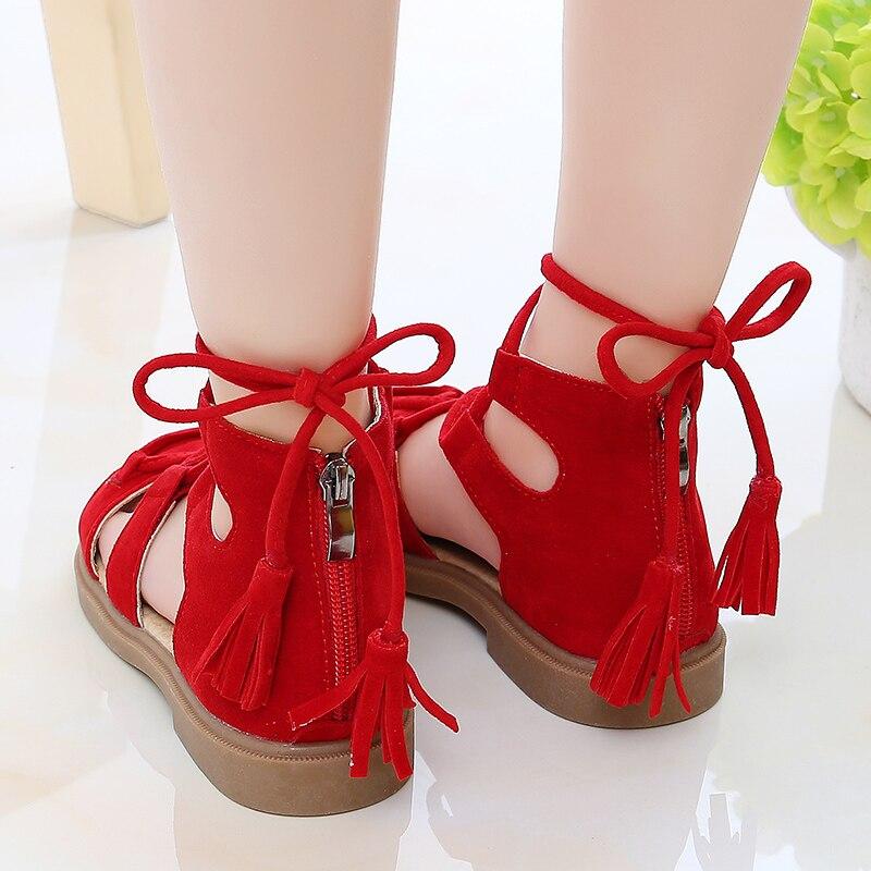 Girls Vintage Sandals New Summer Kids Shoes Girls Rome Flock Tassel Zip Lace up Princess Rubber Beach Sandals Women Flat Shoes