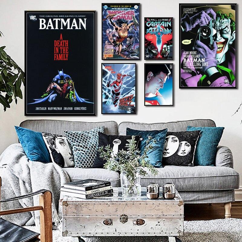 Batman Superman Wonder Woman Justice League Classic DC Comic Book Cover Art Painting Silk Canvas Poster Wall Home Decor картины