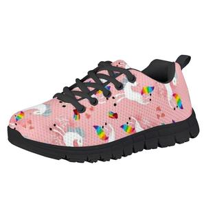 HYCOOL Girl Shoes Heart Shape Rainbow Unicorn Print Children Fashion Running Sports Sneakers Kids Lightweight Casual Footwear