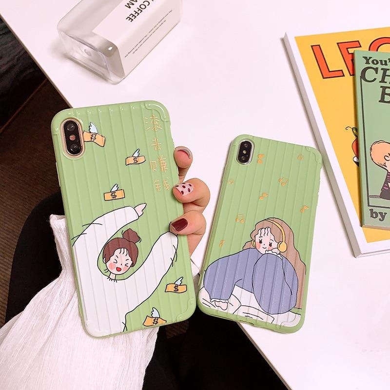 Kawaii japonés buena suerte chicas lindo carcasas de teléfono móvil de dibujos animados coque iPhone 7 7 6 6s Plus 11 Pro Xs Max X XR caso cubierta de silicona