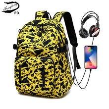 FengDong lycée étudiant jaune camouflage sac à dos usb bookbag mode grande école sac à dos pour adolescents garçons filles
