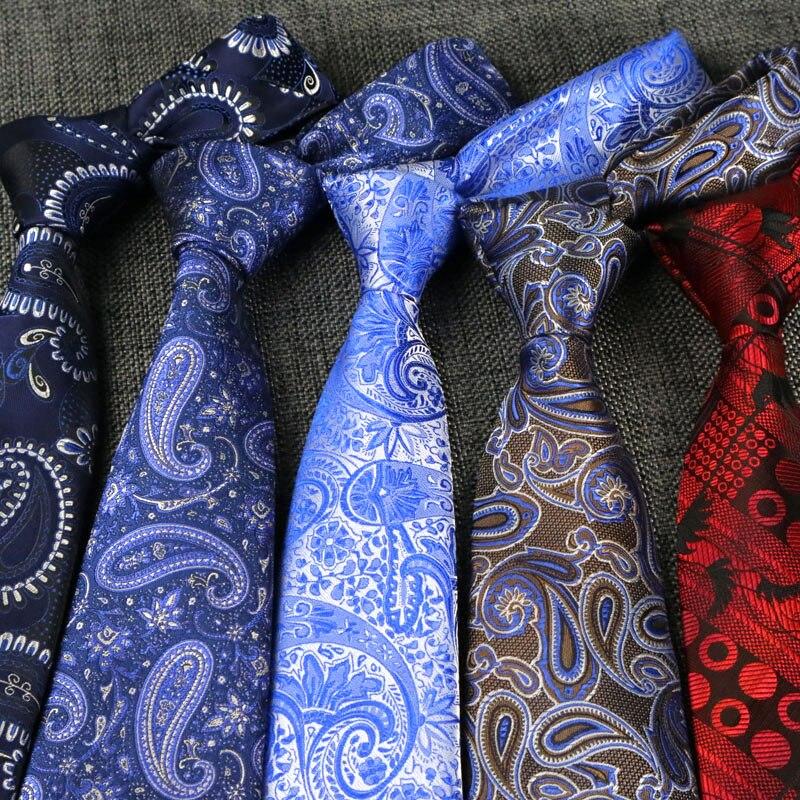 YISHLINE NEW 8CM Men Ties Fashion Paisley Pattern High Quality Jacquard Cravat Neck Ties Wedding Party Tie Arrow 156cm недорого