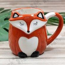 500 ml bonito animal 3d raposa xícara de café grande capacidade pintados à mão dos desenhos animados cerâmica café da manhã caneca leite frete grátis