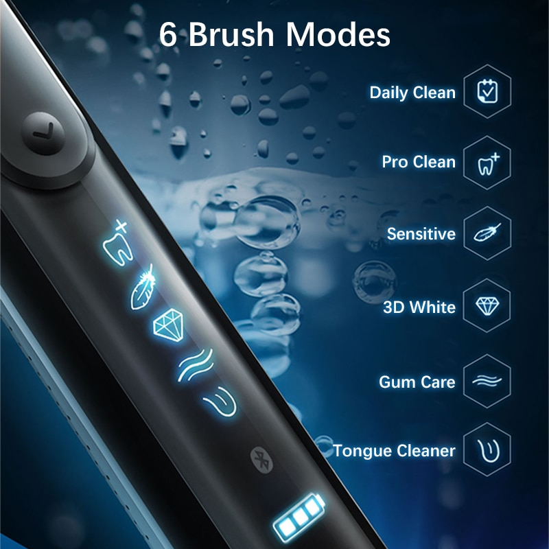 Sonic 3D Clean 6 Modes Electric Toothbrush Rechargeable Bluetooth Connection 12 Color Reminds Waterproof With Travel Charge Box enlarge