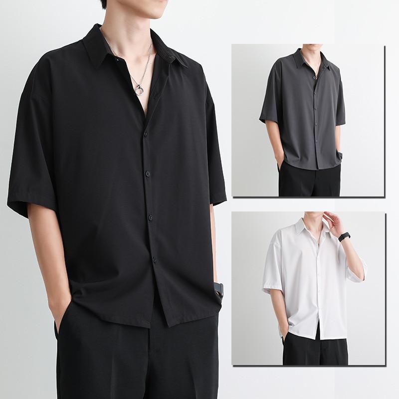 Lazy short sleeve shirt men's summer Korean fashion shirt Korean loose casual five point sleeve shirt middle sleeve men's wear