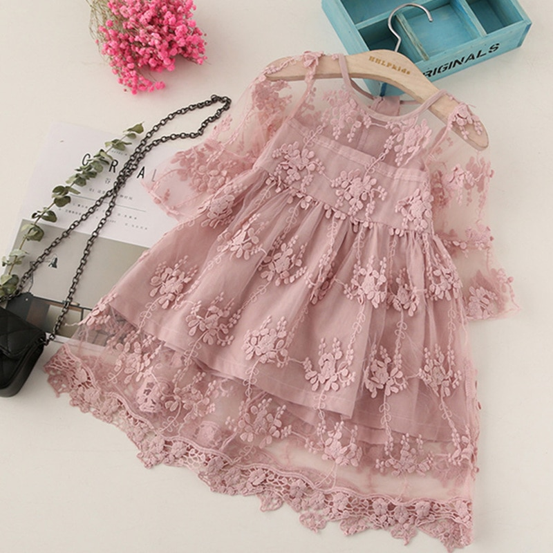Summer Girl Clothes Kids Dresses For Girls Lace Flower Dress Baby Girl Party Wedding Dress Children