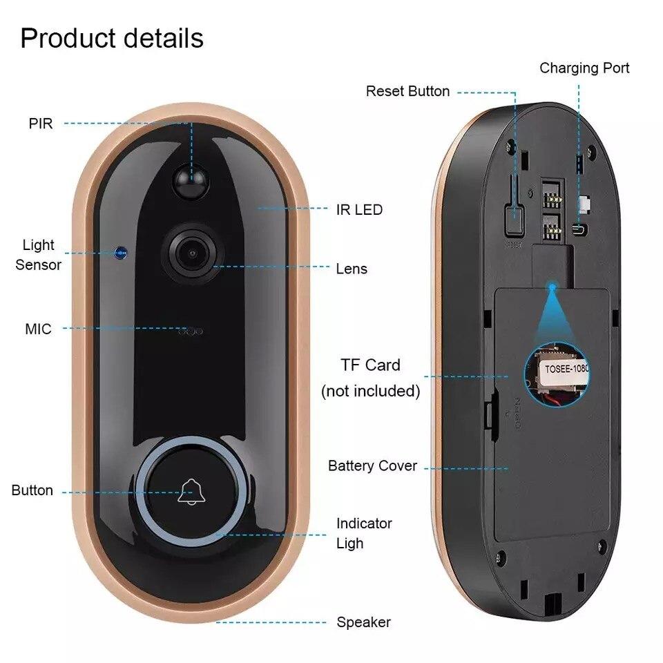 Видеодомофон tejosa FHD, умный беспроводной дверной звонок с Wi-Fi, визуальная запись, домашний монитор, ночное видение, домофон, домофон