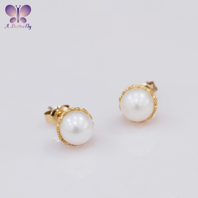 Review 9K Yellow Gold Natural Seawater Pearl Stud Earrings Light Luxury Retro Pattern Jewelry Earrings Birthday Gift